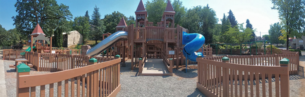 The newly rebuilt Children's Park includes over 50 play elements and more accessible features than the original.