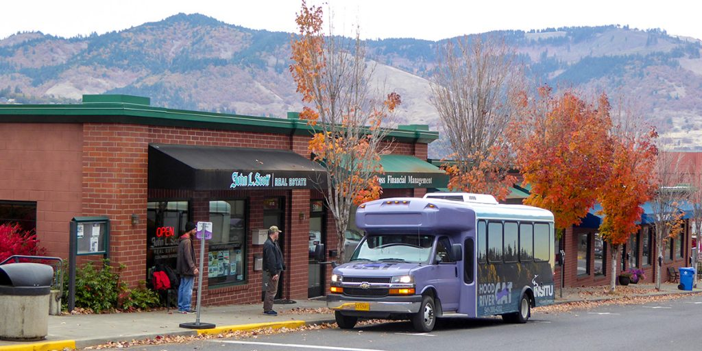 A CAT Bus stops at 6th and Cascade in downtown Hood River