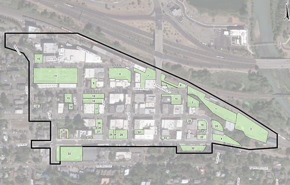 Survey boundaries for the 2018 parking survey are illustrated in the study area map of downtown Hood River.