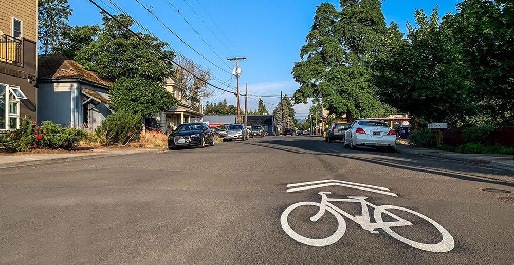 The Wilson-A Street Bicycle Corridor Project is partially complete.